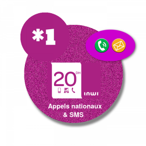 recharge en ligne Inwi Appels nationaux & SMS  par paypal 20 DH