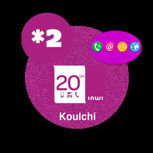 recharge en ligne Inwi Koulchi *2 par paypal  - 20 DH