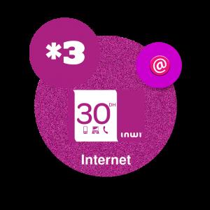 recharge en ligne Inwi Internet *3 -  30  DH par paypal