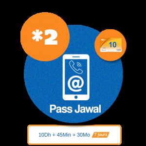 recharge en ligne maroc telecom par paypal Pass Jawal Voix + Data  - 10DH
